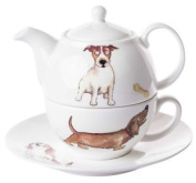 Roy Kirkham Tea For One Set Dogs Teapot Cup Saucer Single Individual Tea Set