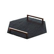 The Just Slate Company Hexagonal Serving Tray Straight Edge With Copper Handles
