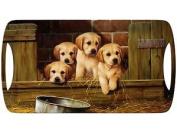Creative Tops Melamine Luxury Handled Small Tray Labrador Puppies