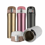 Hiwill Double Walled Vacuum Insulated Travel Coffee Mug, Stainless Steel Flask, Sports Water Bottle, 450ml