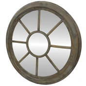 Large Round Wall Mirror Ice Old Fashion Wooden Wheel Giant 6x90x90 cm