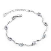 Ladies Element Silver Crystal S925 Sterling Silver Bracelets with Shiny White Cubic Zirconia for Women Girls