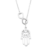 Silver Mountain 925 Sterling Silver Infinity Good Luck Hamsa Fatima Hand Pendant Necklace with 44cm Rolo Chain