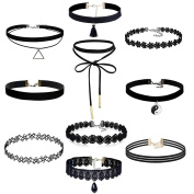 Flowerfall 10 Pieces Choker Necklace Set Gothic Velvet Lace Choker Necklaces Tattoo Stretch ,Black