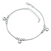 CMJ Sterling Silver Plated Snake Chain Anklet - Three Bells & Silver Balls UK SELLER