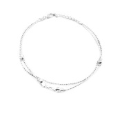 Onefeart Silver Plated Anklet Bracelet For Women Heart Anklets Sandal Beach Barefoot Foot Chain 26CM