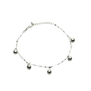Onefeart Silver Plated Anklet Chain For Women Barefoot Sandal Foot Jewellery Anklet Chain Bell Shape 46CM