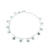 Onefeart Silver Plated Anklet for Women Girls Bracelet Butterfly Shape Anklet Bracelet Link 46CM Silver