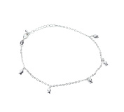 Onefeart Silver Plated Anklet Chain For Women Rose Red Rolo Chain Bracelet Beach Foot Jewellery 26CM Silver