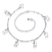 Ankle Chain Bracelet with Cat Charms Adjustable Anklet for Women