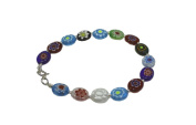 Bracelet silver Oval Stones Murano Crystals of Colours