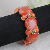 New Arrival candy colour fruit jelly resin facet and gold decoration Beads Stretch Bracelet