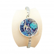 Art photo blue floral flower bracelet pendant glass cabochon dome charm music bangle musical note bracelet