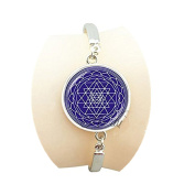 Sacred geometry Sri yantra bracelet om mandala flower bangle India jewellery spiritual Yoga bracelets for women
