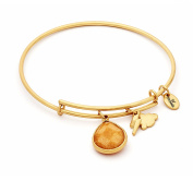 November Birthstone with Citrine Jade and Lightning Charms Expandable Bangle Bracelet, 14kt Gold Plated