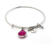 July Birthstone with Ruby and Padlocked Heart Charms Expandable Bangle Bracelet, 14kt Gold Plated