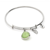 August Birthstone with Peridot and Laurel Leaf Charms Expandable Bangle Bracelet, 14kt Gold Plated