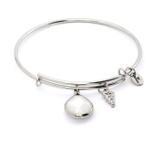June Birthstone with White Jade and Entwined Snake Charms Expandable Bangle Bracelet, 14kt Gold Plated