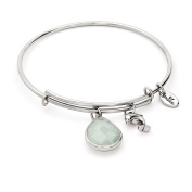 March Birthstone with Aquamarine Jade and Dolphin Charms Expandable Bangle Bracelet, 14kt Gold Plated