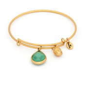 May Birthstone with Emerald Jade and Smiling Buddha Charms Expandable Bangle Bracelet, 14kt Gold Plated