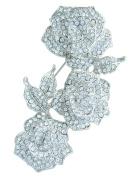 Sindary Wedding 8.5cm Rose Flower Brooch Pin Clear Austrian Crystal Pendant UKB3612