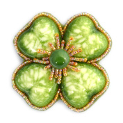 Large White Porcelain and Glass Beads Green Clover Flower Brooch – Costume Jewellery
