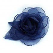 Navy Blue Organza Fabric Flower Brooch.