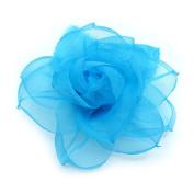 Brooch Flower Organza, Turquoise.