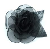 Brooch Flower Organza, Black.