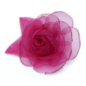 Organza Fabric Flower Brooch, Pink.