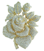 Sindary Gorgeous Gold Tone 14cm Big Rose Flower Brooch Pin Clear Austrian Crystal Pendant UKB2994