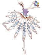 FENGJI Full Rhinestone Ballet Girls Retro Gold Plated Brooch Pin Lovely Wedding Pin for women
