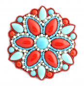 Brooch fantasy Large Round Coral, Turquoise and White Porcelain and Glass Beads – Jewellery