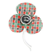 Remembrance Poppy - Charity Donation Gift - Enamelled Tartan Poppy Brooch