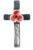Remembrance Poppy - Charity Donation Gift - Enamelled Poppy & Peace Cross Brooch