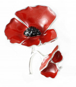 Remembrance Poppy - Charity Donation Gift - Enamelled Two Poppies Brooch