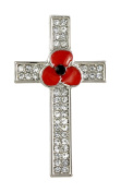 Remembrance Poppy - Charity Donation Gift - Enamelled Poppy and Pave Crystal Cross Brooch