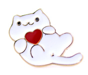 Lizzyoftheflowers - Gold tone white enamel cat and red heart brooch / pin