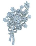 Sindary Elegant Wedding 10cm Flower Brooch Pin Clear Austrian Crystal UKB2436C1