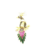 tanglz Peacock Brooch Black Enamel & Crystal Rhinestone . with Tracking