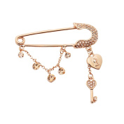 Maikun Quality Ornament Safety Pin Brooch Key to Your Heart Lock Safety Pin