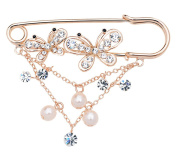 Maikun Butterfly Scarf Clip Faux-Pearl Diamante Ornament Safety Pin Brooch