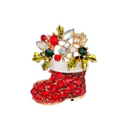Christmas Red Socks Brooch Pin X-mas Jewellery Accessory for Holiday Gift