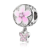 ATHENAIE 925 Sterling Silver Magnolia Bloom Pale Cerise Enamel and Clear CZ with Pink CZ Butterfly Bead Charms