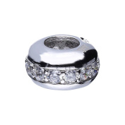 Genuine 925 Sterling Silver CZ Stones Bead European Style Charm