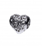Genuine 925 Sterling Silver Heart Filigree Bead European Style Charm
