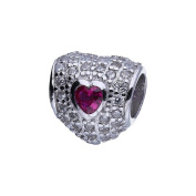 Genuine 925 Sterling Silver Heart Bead European Style Charm