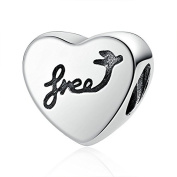 Heart of Freedom 925 Sterling Silver Bead Fits Pandora Charm Bracelet