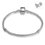 A TE® Charm Bracelet Beads Carriers Snake Chain with Magnetic Clasp #JW-B01