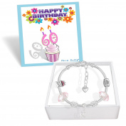 Ladies 60th Birthday Card and Silver Charm Bracelet Gift Box Jewellery Set